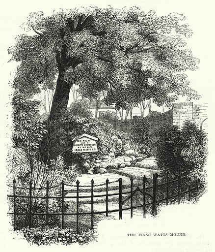 The Issac Watts Mound. Illustration for The Sunday at Home (1878).