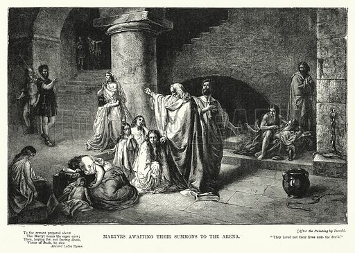 Martyrs awaiting their Summons to the Arena. Illustration for The Sunday at Home (1878).