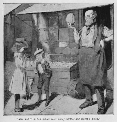 """""""Dora and H O had clubbed their money together and bought a melon."""" Illustration for The Story of the Treasure Seekers by E Nesbit (T Fisher Unwin, 1900)."""