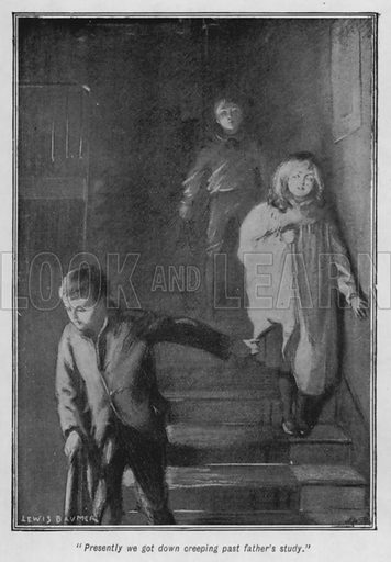 """""""Presently we got down creeping past father's study."""" Illustration for The Story of the Treasure Seekers by E Nesbit (T Fisher Unwin, 1900)."""