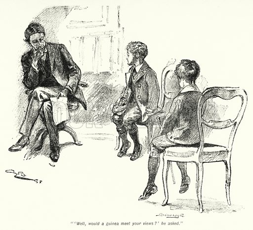 """""""'Well, would a guinea meet your views?' he asked."""" Illustration for The Story of the Treasure Seekers by E Nesbit (T Fisher Unwin, 1900)."""