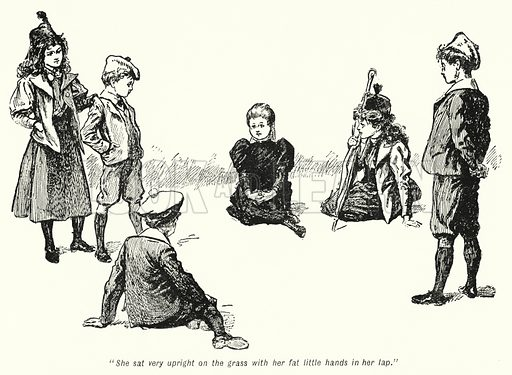 """She sat very upright on the grass with her fat little hands in her lap."" Illustration for The Story of the Treasure Seekers by E Nesbit (T Fisher Unwin, 1900)."