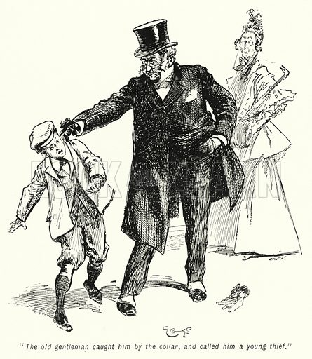 """""""The old gentleman caught him by the collar, and called him a young thief."""" Illustration for The Story of the Treasure Seekers by E Nesbit (T Fisher Unwin, 1900)."""