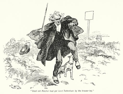 """""""Good old Pincher had got Lord Tottenham by the trouser-leg."""" Illustration for The Story of the Treasure Seekers by E Nesbit (T Fisher Unwin, 1900)."""