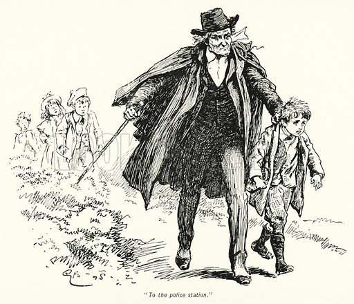 """""""To the police station."""" Illustration for The Story of the Treasure Seekers by E Nesbit (T Fisher Unwin, 1900)."""