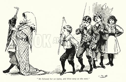 """""""We followed her on tiptoe, and Alice sang as she went."""" Illustration for The Story of the Treasure Seekers by E Nesbit (T Fisher Unwin, 1900)."""