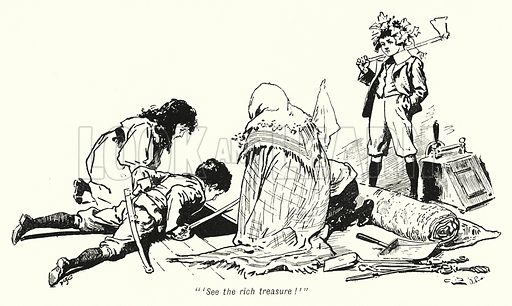 """'See the rich treasure!'"" Illustration for The Story of the Treasure Seekers by E Nesbit (T Fisher Unwin, 1900)."