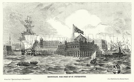 Kronstadt, the Port of St Petersburg. Illustration for The United States Magazine, Vol I (J M Emerson, nd).