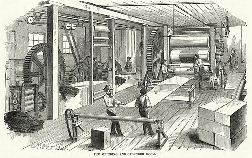 The Grinding and Calender Room. Illustration for The United States Magazine, Vol I (J M Emerson, nd).