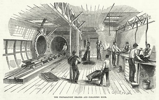 The Preparatory Heater and Cleansing Room. Illustration for The United States Magazine, Vol I (J M Emerson, nd).