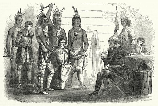 Lieutenant Boyd before Colonel Butler, an Incident of Savage Forbearance and Civilized Vindictiveness. Illustration for The United States Magazine, Vol I (J M Emerson, nd).