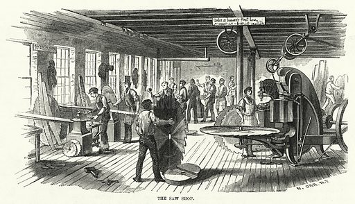 The Saw Shop. Illustration for The United States Magazine, Vol I (J M Emerson, nd).