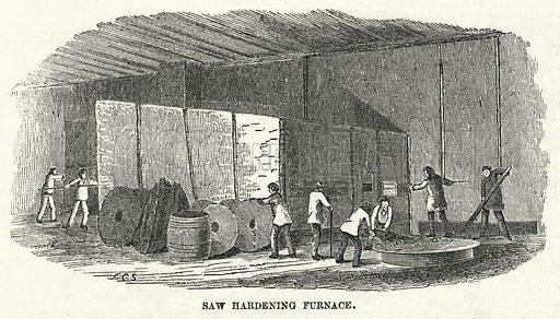 Saw Hardening Furnance. Illustration for The United States Magazine, Vol I (J M Emerson, nd).
