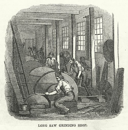 Long Saw Grinding Shop. Illustration for The United States Magazine, Vol I (J M Emerson, nd).