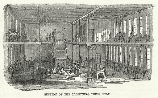 Section of the Lightning Press Shop. Illustration for The United States Magazine, Vol I (J M Emerson, nd).