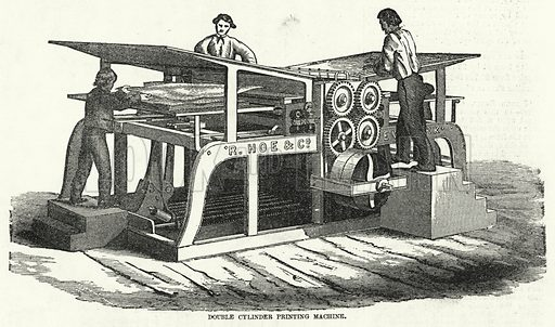 Double Cylinder Printing Machine. Illustration for The United States Magazine, Vol I (J M Emerson, nd).