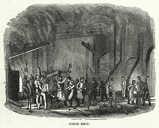 Forge Shop. Illustration for The United States Magazine, Vol I (J M Emerson, nd).