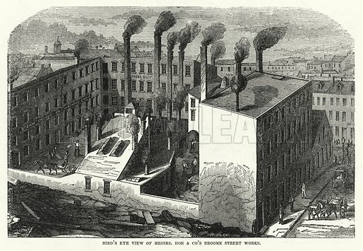 Bird's Eye View of Messrs Hoe and Co's Broome Street Works. Illustration for The United States Magazine, Vol I (J M Emerson, nd).