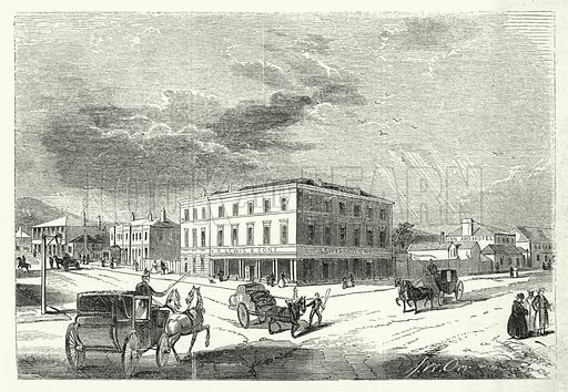 Hobart Town. Illustration for The United States Magazine, Vol I (J M Emerson, nd).