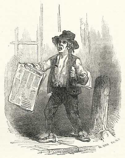 Newspaper Seller. Illustration for The United States Magazine, Vol I (J M Emerson, nd).
