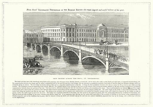 Iron Bridge across the Neva, St Petersburg. Illustration for The United States Magazine, Vol I (J M Emerson, nd).
