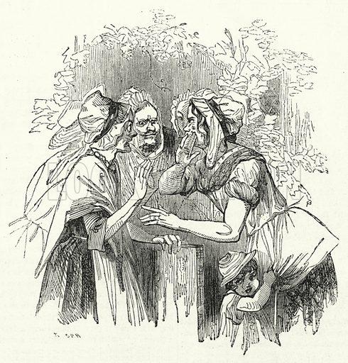 Village Gossips. Illustration for The United States Magazine, Vol I (J M Emerson, nd).