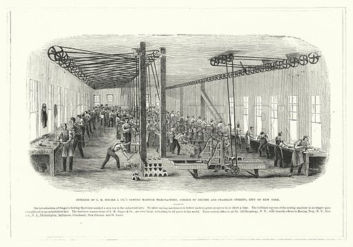 Interior of I M Singer and Co's Sewing Machine Manufactory, Corner of Centre and Franklin Streets, City of New York. Illustration for The United States Magazine, Vol I (J M Emerson, nd).