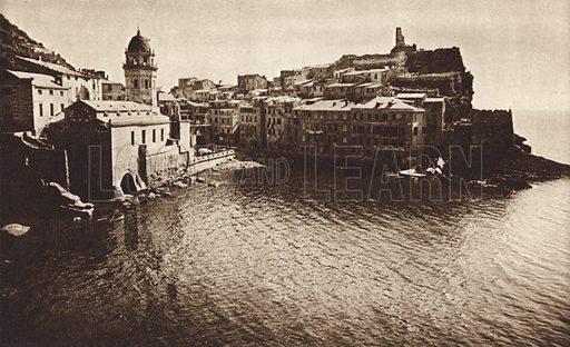 Vernazza, Riviera.  Illustration for Unbekanntes Italien [Unknown Italy] by Kurt Hielscher (F A Brockhaus, 1941). Gruvure printed.