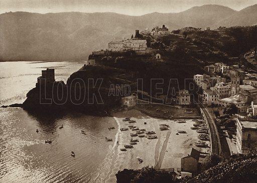Monterosso al Mare, Riviera.  Illustration for Unbekanntes Italien [Unknown Italy] by Kurt Hielscher (F A Brockhaus, 1941). Gruvure printed.