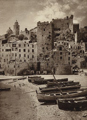 Portovenere, Riviera.  Illustration for Unbekanntes Italien [Unknown Italy] by Kurt Hielscher (F A Brockhaus, 1941). Gruvure printed.