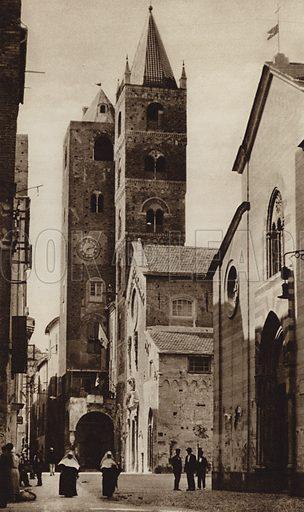 Albenga, Riviera.  Illustration for Unbekanntes Italien [Unknown Italy] by Kurt Hielscher (F A Brockhaus, 1941). Gruvure printed.