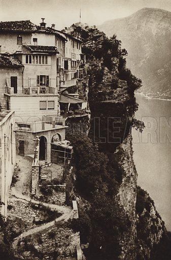 Lago di Garda, Tremosine.  Illustration for Unbekanntes Italien [Unknown Italy] by Kurt Hielscher (F A Brockhaus, 1941). Gruvure printed.