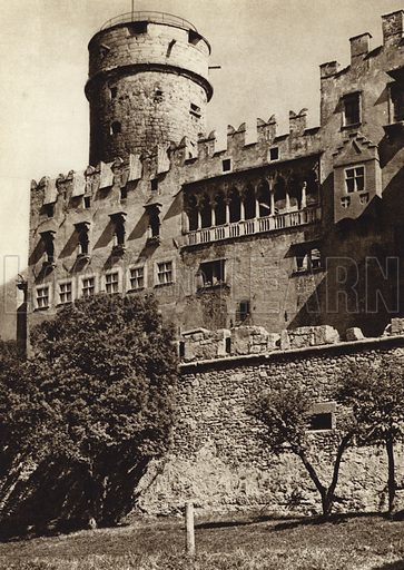 Trento, Castello del Buon Consiglio.  Illustration for Unbekanntes Italien [Unknown Italy] by Kurt Hielscher (F A Brockhaus, 1941). Gruvure printed.