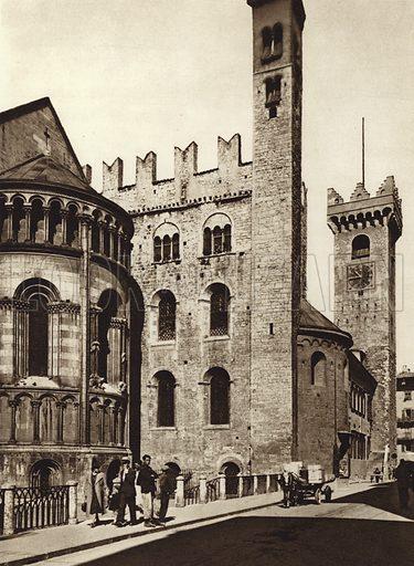 Trento. Illustration for Unbekanntes Italien [Unknown Italy] by Kurt Hielscher (F A Brockhaus, 1941). Gruvure printed.