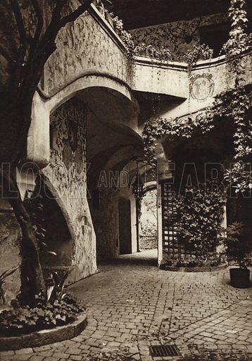 Merano, Castello Forst.  Illustration for Unbekanntes Italien [Unknown Italy] by Kurt Hielscher (F A Brockhaus, 1941). Gruvure printed.