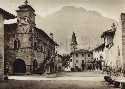 Venzone.  Illustration for Unbekanntes Italien [Unknown Italy] by Kurt Hielscher (F A Brockhaus, 1941). Gruvure printed.