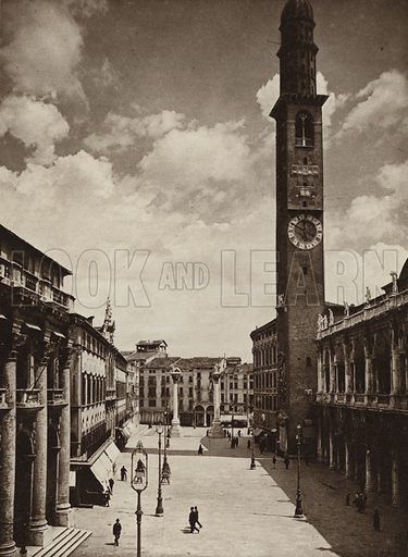 Vicenza, Piazza dei Signori.  Illustration for Unbekanntes Italien [Unknown Italy] by Kurt Hielscher (F A Brockhaus, 1941). Gruvure printed.
