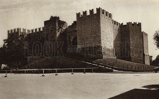 Prato, Castello.  Illustration for Unbekanntes Italien [Unknown Italy] by Kurt Hielscher (F A Brockhaus, 1941). Gruvure printed.