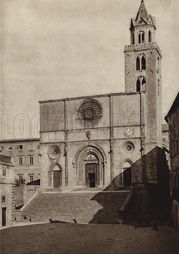 Todi, Cattedrale.  Illustration for Unbekanntes Italien [Unknown Italy] by Kurt Hielscher (F A Brockhaus, 1941). Gruvure printed.