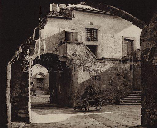 Viterbo, Via S Pellegrino.  Illustration for Unbekanntes Italien [Unknown Italy] by Kurt Hielscher (F A Brockhaus, 1941). Gruvure printed.