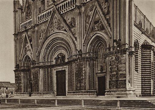 Orvieto, Duomo.  Illustration for Unbekanntes Italien [Unknown Italy] by Kurt Hielscher (F A Brockhaus, 1941). Gruvure printed.