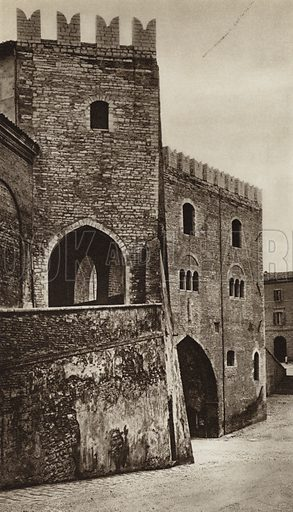 Fabriano, Palazzo del Podesta.  Illustration for Unbekanntes Italien [Unknown Italy] by Kurt Hielscher (F A Brockhaus, 1941). Gruvure printed.