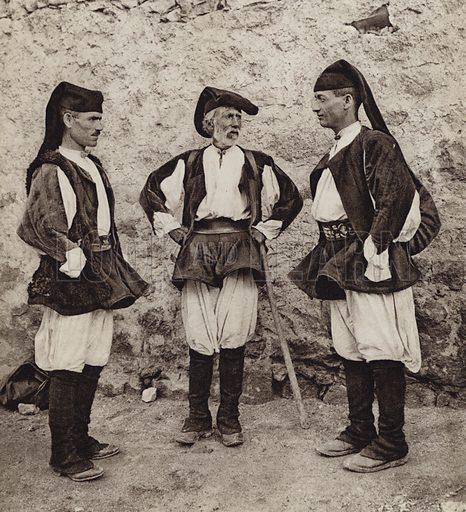 Costumi di Olieno, Sardegna.  Illustration for Unbekanntes Italien [Unknown Italy] by Kurt Hielscher (F A Brockhaus, 1941). Gruvure printed.