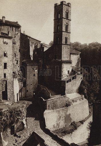 Ronciglione.  Illustration for Unbekanntes Italien [Unknown Italy] by Kurt Hielscher (F A Brockhaus, 1941). Gruvure printed.