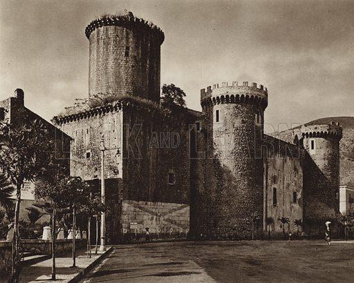 Fondi, Castello.  Illustration for Unbekanntes Italien [Unknown Italy] by Kurt Hielscher (F A Brockhaus, 1941). Gruvure printed.