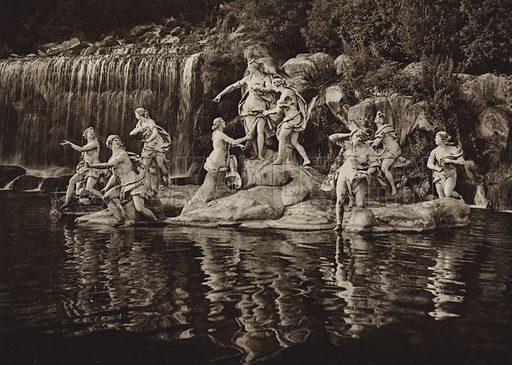 Caserta, Gruppo di Diana, nel parco.  Illustration for Unbekanntes Italien [Unknown Italy] by Kurt Hielscher (F A Brockhaus, 1941). Gruvure printed.