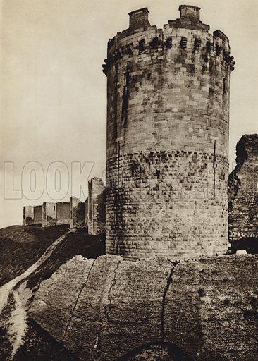 Lucera, Castello.  Illustration for Unbekanntes Italien [Unknown Italy] by Kurt Hielscher (F A Brockhaus, 1941). Gruvure printed.