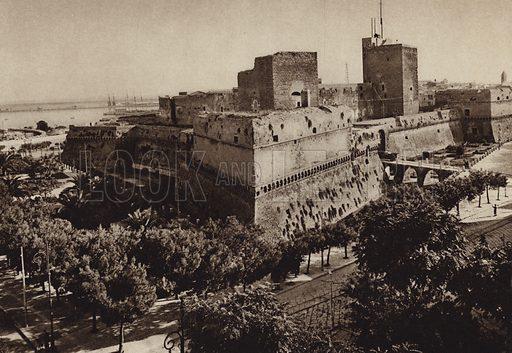 Bari, Castello.  Illustration for Unbekanntes Italien [Unknown Italy] by Kurt Hielscher (F A Brockhaus, 1941). Gruvure printed.