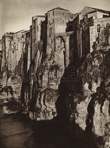 Tropea.  Illustration for Unbekanntes Italien [Unknown Italy] by Kurt Hielscher (F A Brockhaus, 1941). Gruvure printed.