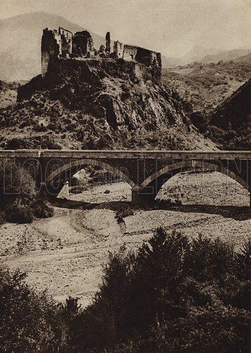Castel S Michele Vecchio.  Illustration for Unbekanntes Italien [Unknown Italy] by Kurt Hielscher (F A Brockhaus, 1941). Gruvure printed.
